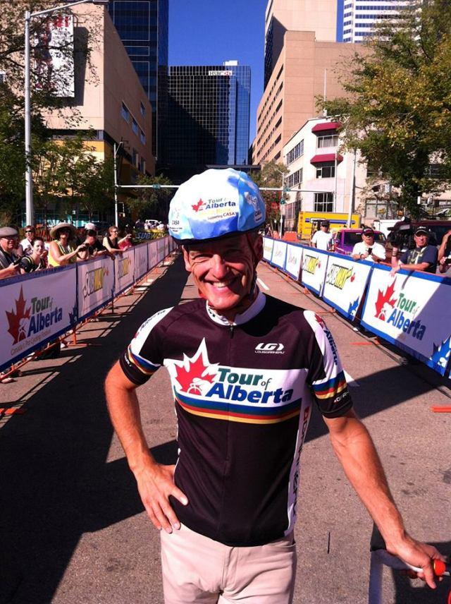 Alex Stieda à la Tour d'Alberta balade familiale. Photo avec la permission du Tour d'Alberta  (Facebook).