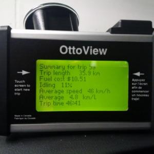 Mon enregistreur de données en utilisation durant l'étude. Les 36 km parcourus durant l'heure de pointe m'ont coûté 10,51 $ en carburant et m'ont pris presque 47 minutes.
