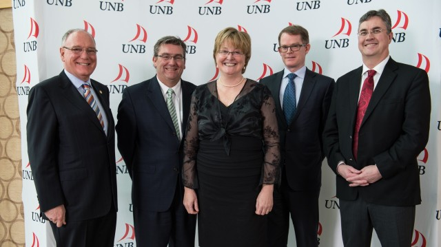 G-D: Dr. David Coleman, Dean of Engineering, UNB; Rod Murphy, Regional Manager, Cisco Canada; Dr. Monica Wachowicz, Cisco Chair in Big Data, UNB; Mike Ansley, SVP, Cisco Canada; Dr. Eddy Campbell, President, UNB.