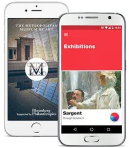 L'application pour appareils mobiles du Metropolitan Museum of Arts permet aux usagers de se faire des petites « collections » virtuelles privées de leurs œuvres d'art préférées et de les relayer aisément sur les plateformes des réseaux sociaux.